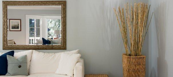 custom mirror in living room